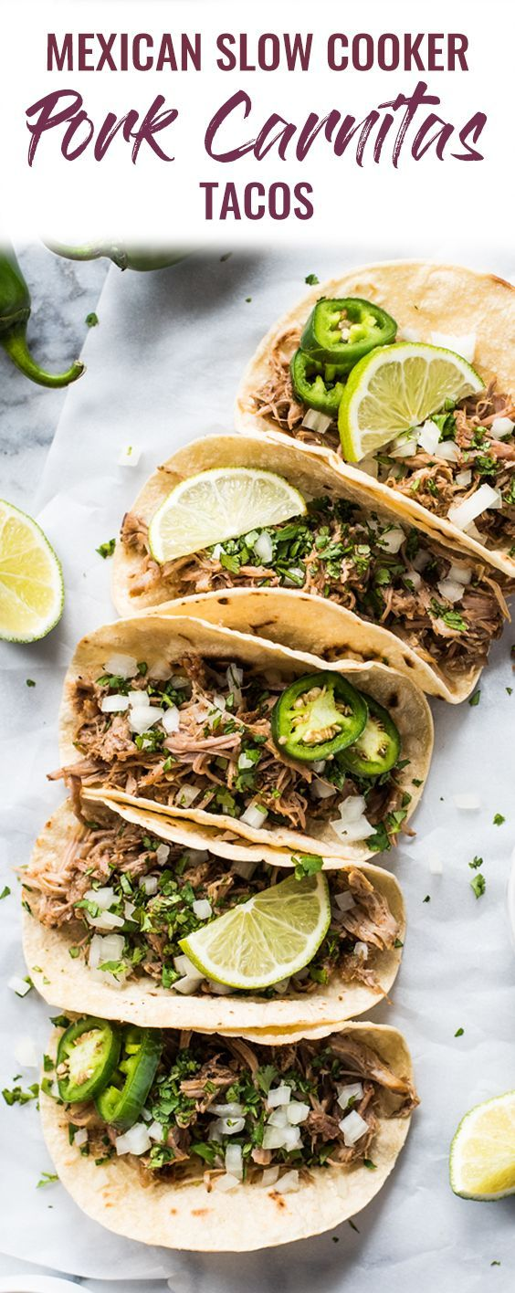 Seasoned with oregano, cumin, chili powder, lime juice, these Mexican Slow Cooker Pork Carnitas Tacos are the perfect dinner for any night of the week. (gluten free, dairy free, paleo, healthy, clean eating) | pork tacos | carnitas recipe | authentic mexican recipe | slow cooker carnitas | crock pot | pulled pork tacos | street tacos