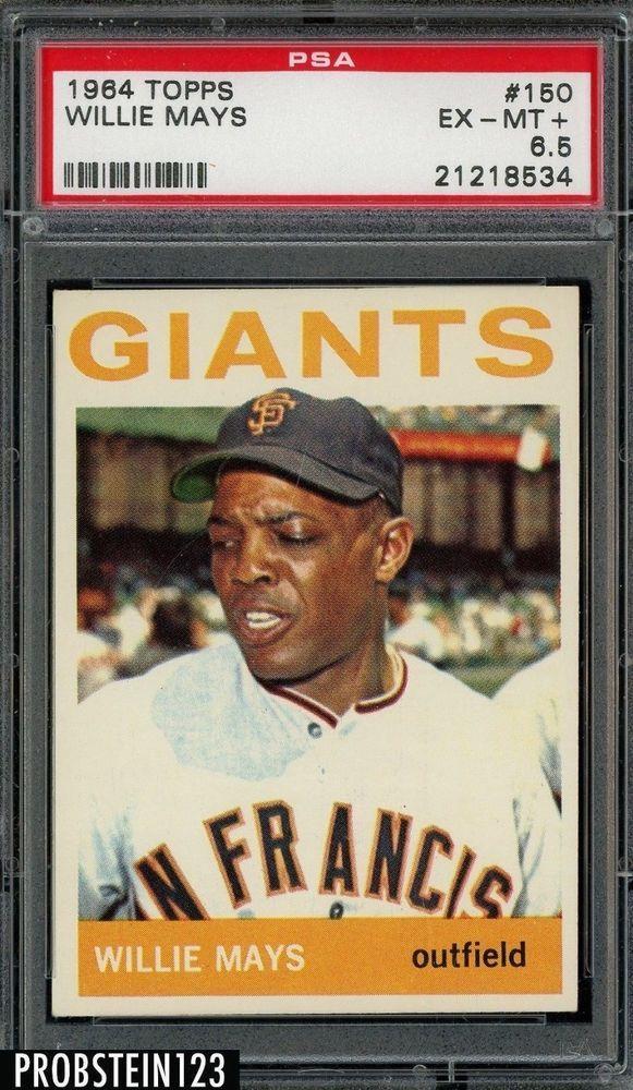 1964 Topps 150 Willie Mays San Francisco Giants Hof Psa 65