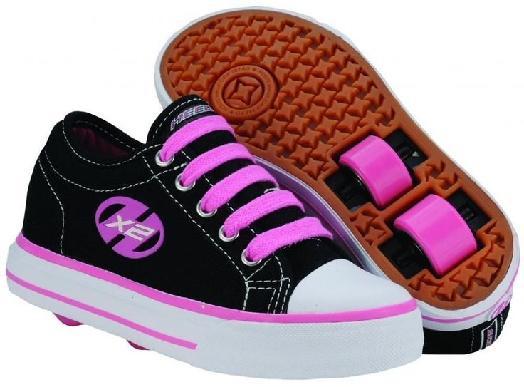 Heelys Jazzy Junior Girls Lace Heely Wheel Roller Shoe - Black/Pink Size J11+