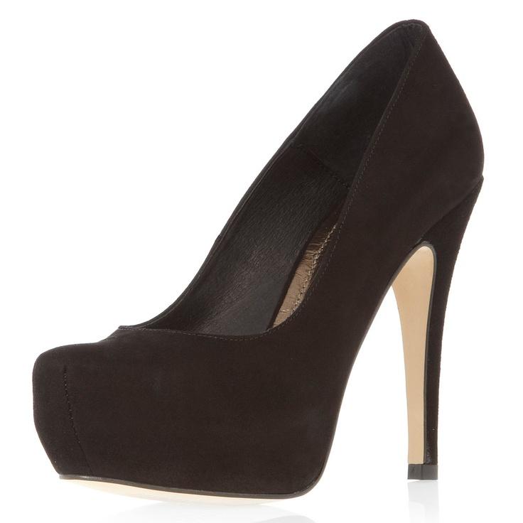 black platform court shoes