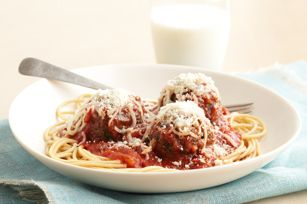 Parmesan meatballs: I tried these last night and they were a hit! Super easy when you use a food processor. The only thing I added to the recipe was a slice of bread and a splash of olive oil.