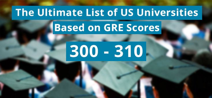 The ultimate list of US universities for GRE scores between 300 and 310, with complete details and statistics to help you shortlist universities.