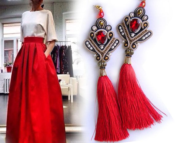 Beautiful and spectacular red earrings from soutache and crystal stones. The suture thread nicely rests on the shoulders. Very light but big. Length 19 cm Thank you for visiting my store