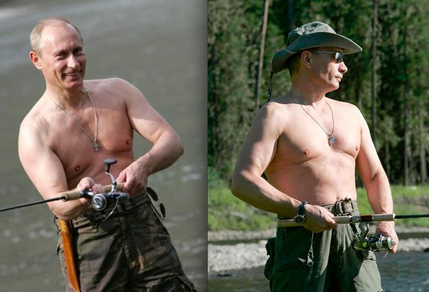 He's always shirtless out of doors, in front of his mostly male entourage and the mostly male reporting pool. | The 16 Most Homoerotic Photos Of Vladimir Putin
