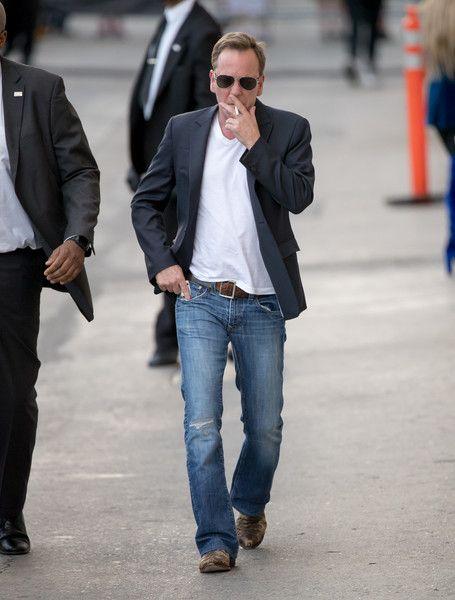 Kiefer Sutherland Photos Photos - Kiefer Sutherland is seen at 'Jimmy Kimmel…