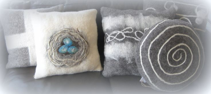 Hand felted cushions by Fever Tree Designs.