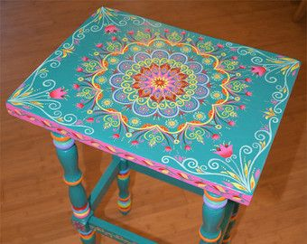 Made to Order Item. SOLD. Its not for sale. This is a sample. Custom orders take some time to finish, please contact for details. Design might look slightly different than on display photos. Hand painted solid wood accent table, size 17 x 12.5 x 30 inches. Boho style. Local pickup is also available. Item weights approx 14 lb. All artwork created by Janna Matkovski.