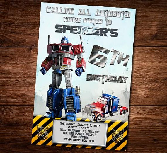 Optimus Prime Birthday Invitation Card Transformers Optimus Transformer Birthday Birthday Invitations Invitation Cards
