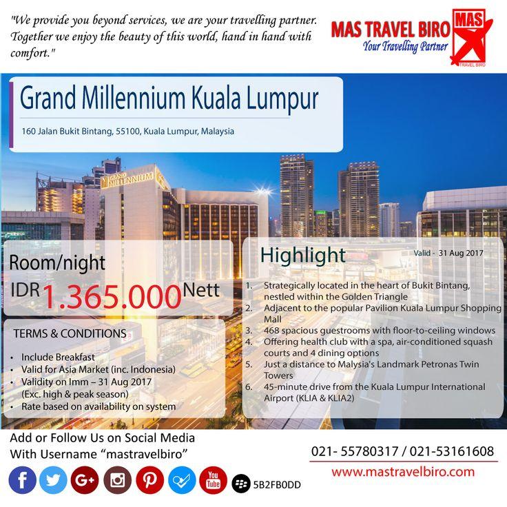 Pagi, liat deh. Promo hotel HOT! Grand Millennium Kuala Lumpur cuma Rp 1.365.000 Net. booking NOW!😏  #mastravelbiro #promohotel #JumatBerkah