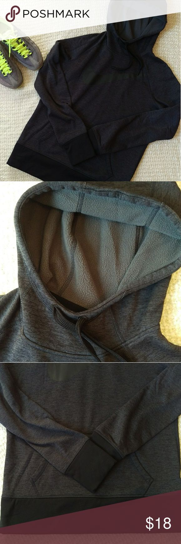 Like New Nike Hoodie Like New Nike Fleece Hoodie  Therma-fit fleece lining. Dark grey, black trim. Attached hood with drawstring and kangaroo pocket. Little thumb slits on sleeves to tuck in your hand. It was a gift, never worn.  Please ask any questions. Sold as is. Nike Tops Sweatshirts & Hoodies