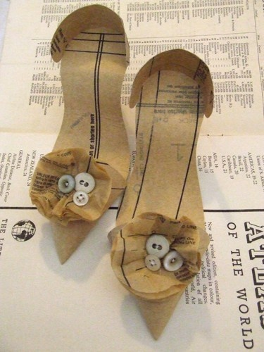 pattern corsage shoes. I have these made out of music paper, & framed. Gorgeous. Made by Jennifer Collier.