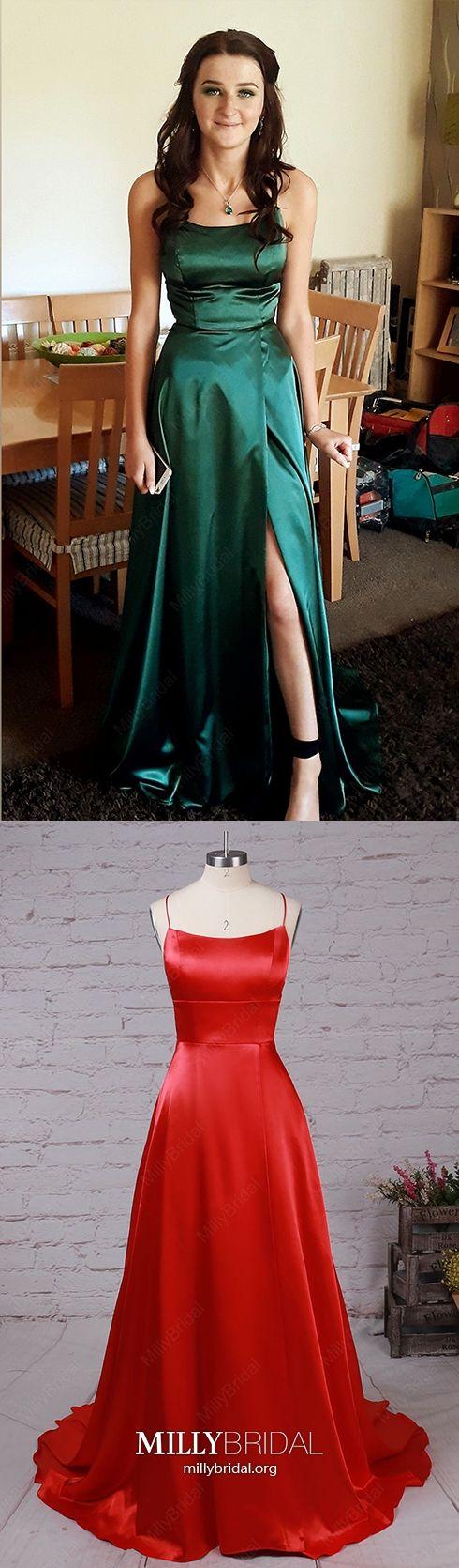 Long prom dresses with slit dark green formal evening dresses
