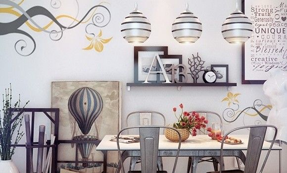 Dining Room Rustic Side Chair With Floral Wallpaper And Wooden Floor Laminating Shelves Also Contemporary Globe Pendants Plus Whimsical Dining Room Design Ideas Also Straw Rug This Dining Room Decor Will Create Your Quality Time With Family More Cheerful Also Delightful