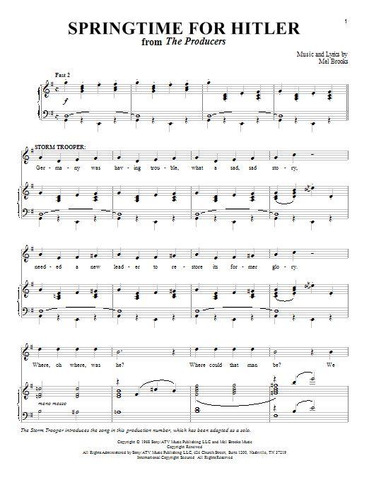 Richard Walters: Springtime For Hitler - Partition Piano Voix - Plus de 70.000 partitions à imprimer !