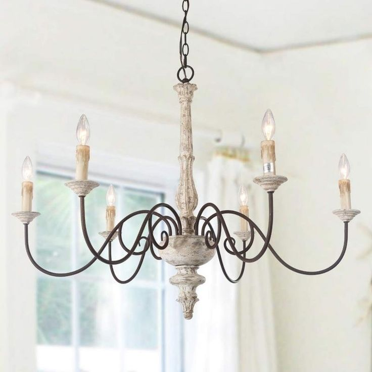 6 Light Persian White French Country Chandelier Rustic