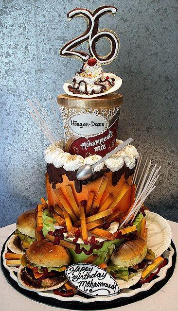 Junk food cake!!!Cake Recipe, Food Cake, Rosebud Cake, Junk Food, Amazing Cake, Fast Food, Awesome Cake, Birthday Cake, Favorite Food
