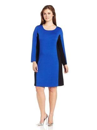56% OFF Karen Kane Women's Plus Side Inset Pull-Over Dress (Royal/Black)