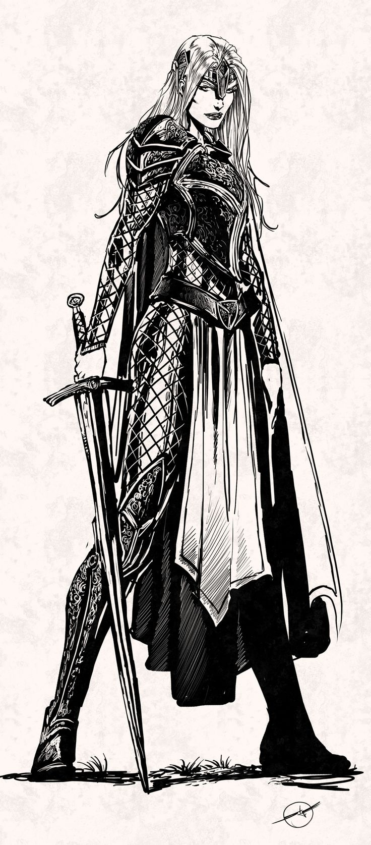 lady pendragon quickie by nebezial female elf fighter ranger armor clothes clothing fashion player character npc | Create your own roleplaying game material w/ RPG Bard: www.rpgbard.com | Writing inspiration for Dungeons and Dragons DND D&D Pathfinder PFRPG Warhammer 40k Star Wars Shadowrun Call of Cthulhu Lord of the Rings LoTR + d20 fantasy science fiction scifi horror design | Not Trusty Sword art: click artwork for source