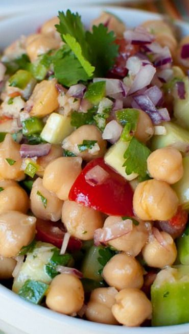 Chickpea Salad... Chickpeas, cucumber, avocado, grape tomatoes, red onion, jalapeño, cilantro, basil, lemon, Dijon, olive oil, rice vinegar, S&P