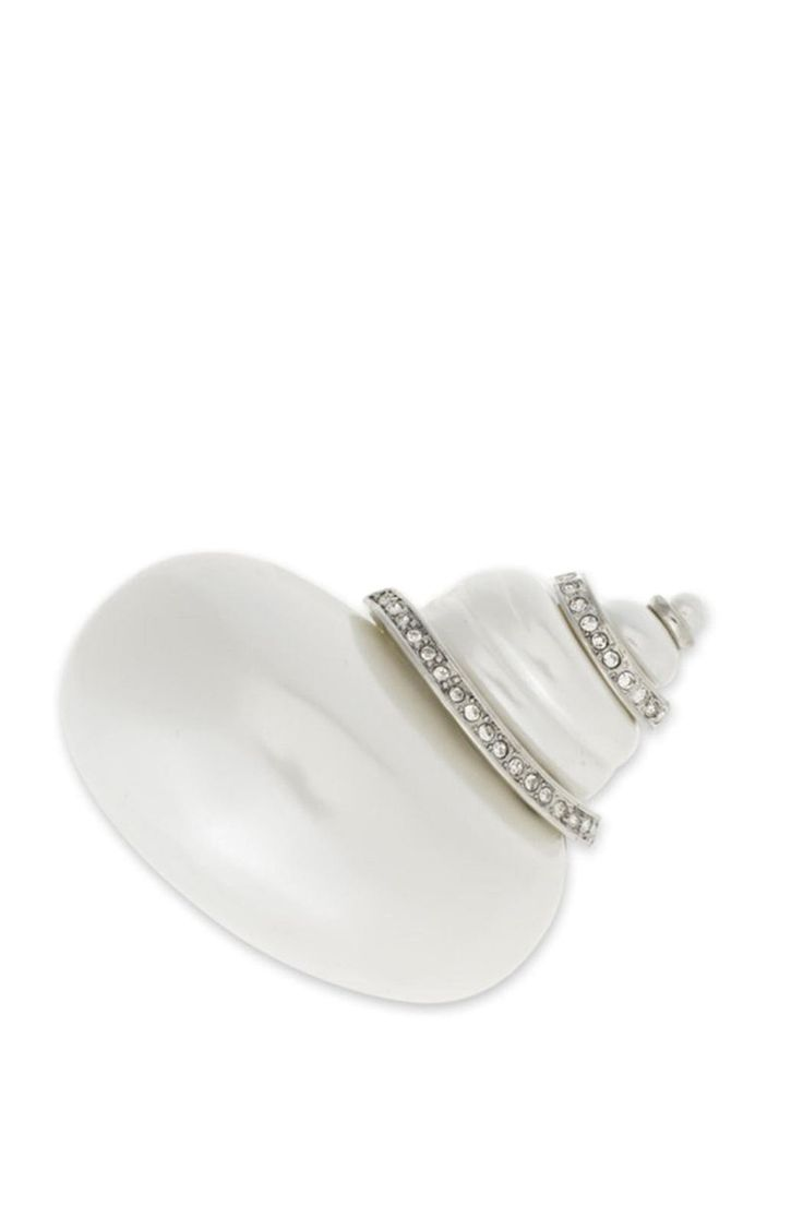White pearl snail brooch with crystal pavé bands. Classic elegance at its best. Measurement: Approx 2 Inches Long. Kenneth Jay Lane is THE Premier costume jeweler! His fabulous costume jewelry has caught the eye of the world's most glamorous women for over five decades, including Jacqueline Kennedy Onassis, Elizabeth Taylor, Diana Vreeland, Audrey Hepburn, and Diana, Princess of Wales. Moreover, his pieces are now as sought-after and collectable as precious gems, with vintage pieces selling…