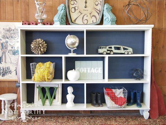 White And Navy Bookcase Book Shelf With Legs By Noteworthyhome 425 00