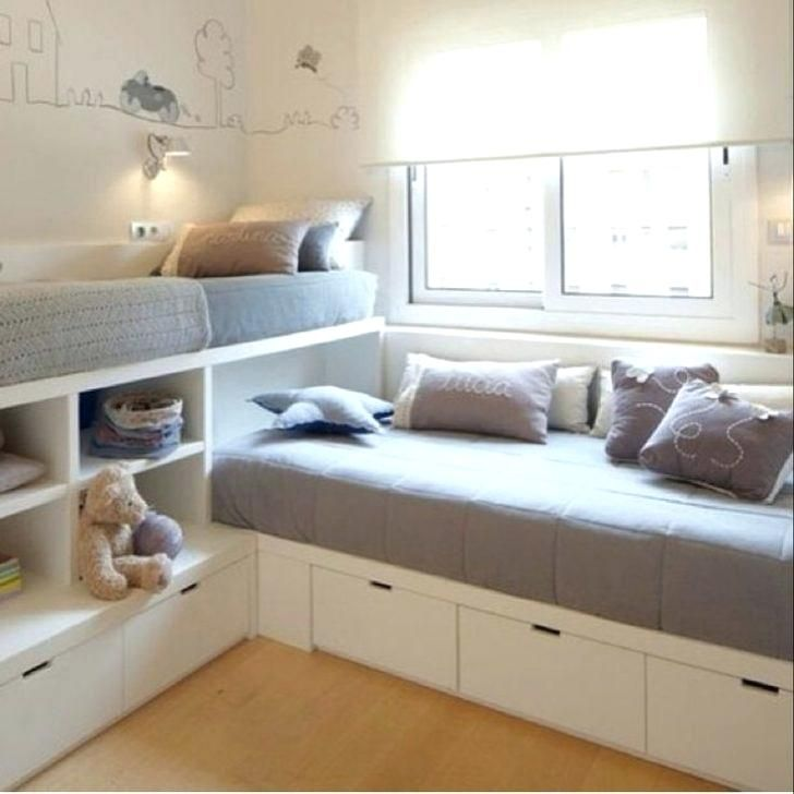 Small Bedroom Design Two Beds In Room Bunk Bed Intended For Plan