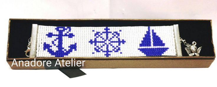 Bead loom bracelet, Marine bracelet, Toho bead bracelet, Marine bead bracelet by AnadoreAtelier on Etsy