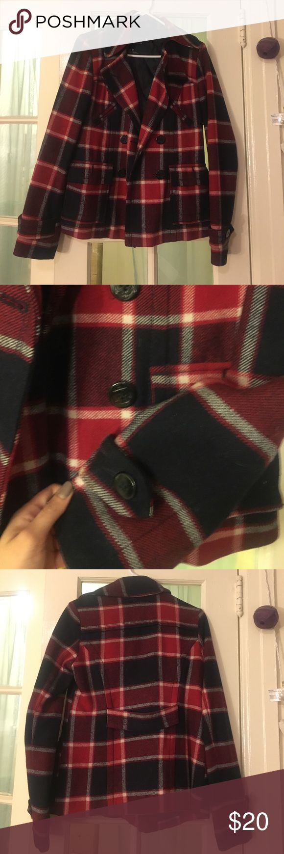 Plaid Peacoat from American Eagle Outfitters Size small plaid peacoat from American Eagle Outfitters. Previously worn, in good condition. American Eagle Outfitters Jackets & Coats Pea Coats