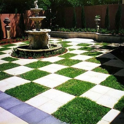 modern outdoor garden space checkerboard lawn i love the visual contradiction between the old