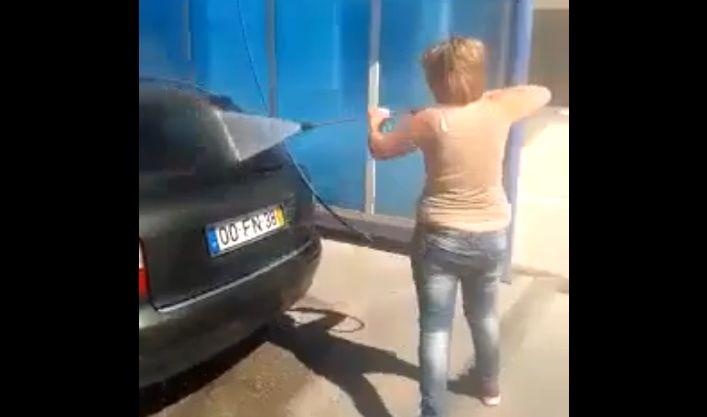 Woman Washing Her Car...