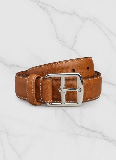 Ceinture homme en cuir de veau : Achetez votre ceinture marron en cuir saffiano PERE2CEIN-DE03/11 et découvrez la collection de costumes hommes De Fursac.