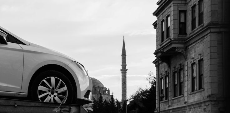 Black and white capture from car parking area at historical center of Istanbul