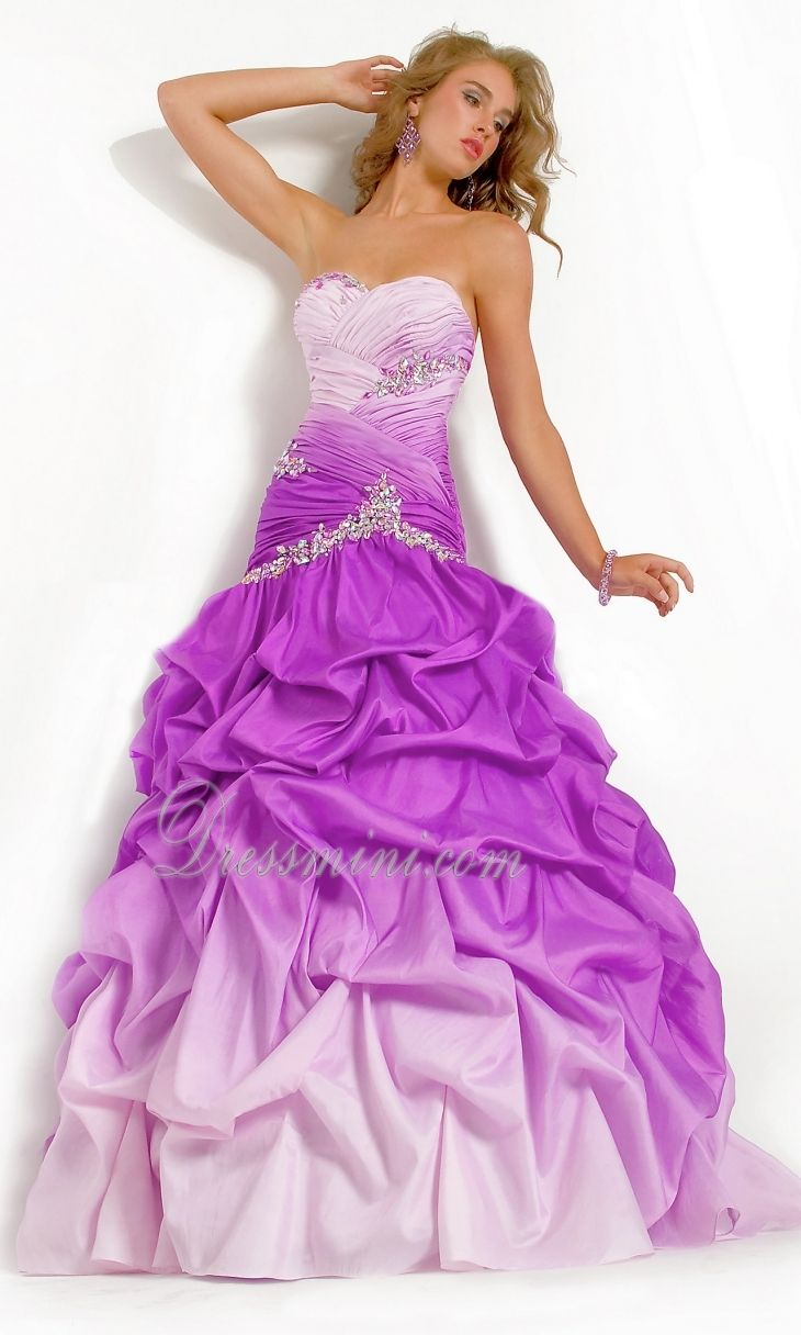 Purple fading sweetheart ballgown