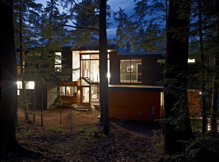 Altius Architecture Inc : Lake Joseph Cottage - exterior night. www.altius.net