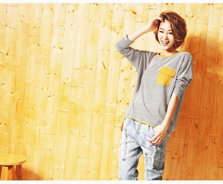 Fashion Tee Round Neck Long Sleeve T-shirt Striped Women's Tops