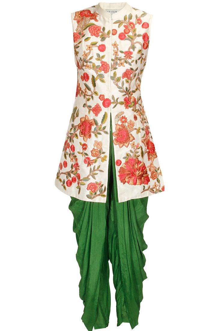 White resham embroidered jacket kurta with green dhoti pants available only at Pernia's Pop Up Shop..#perniaspopupshop #newcollection #festive #designer #clothing #aharin