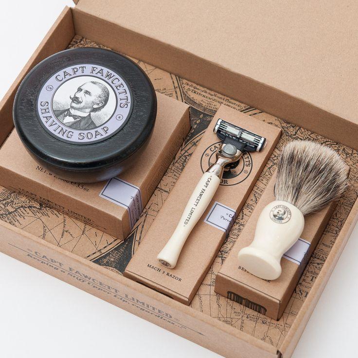 Shaving Brush, Razor and Shaving Soap Gift Set by Captain Fawcett   Captain Fawcett Limited
