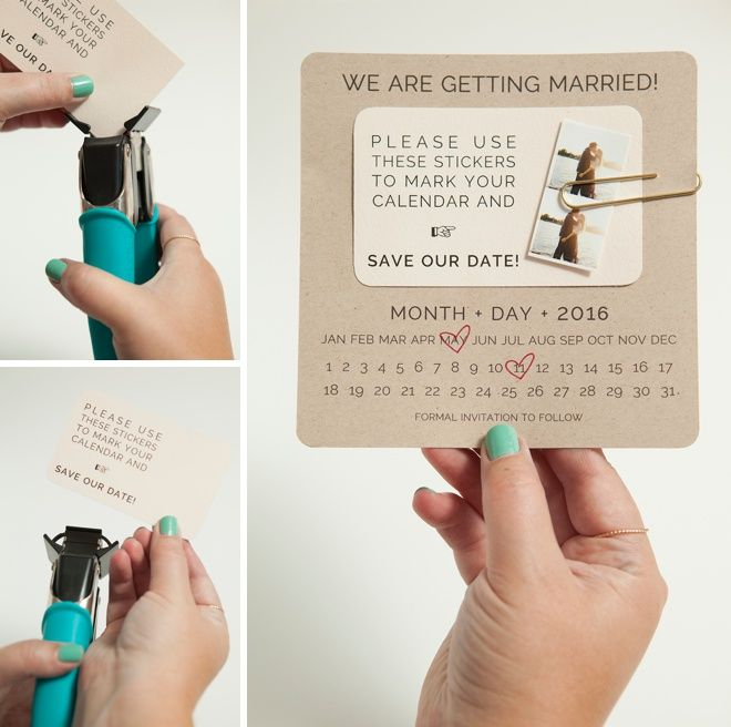 DIY Save The Date Invitations With Custom Calendar Stickers