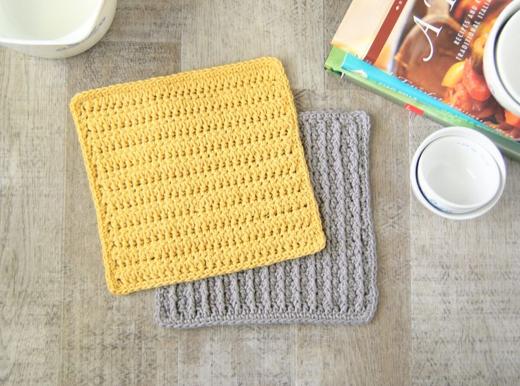 Forked Cluster Stitch Crochet Dishcloth