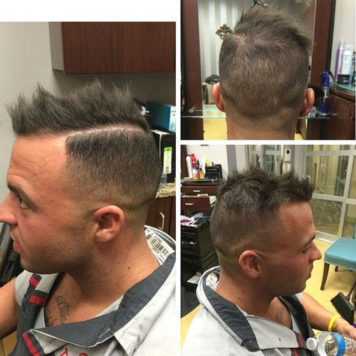 Messy Fauxhawk with High Fade. Spiky Mohawk for men with thinning hair
