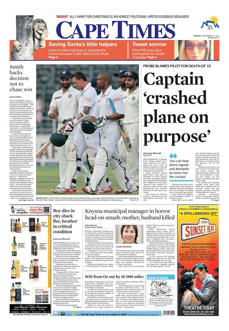 News making headlines: Captain crashed plane on purpose