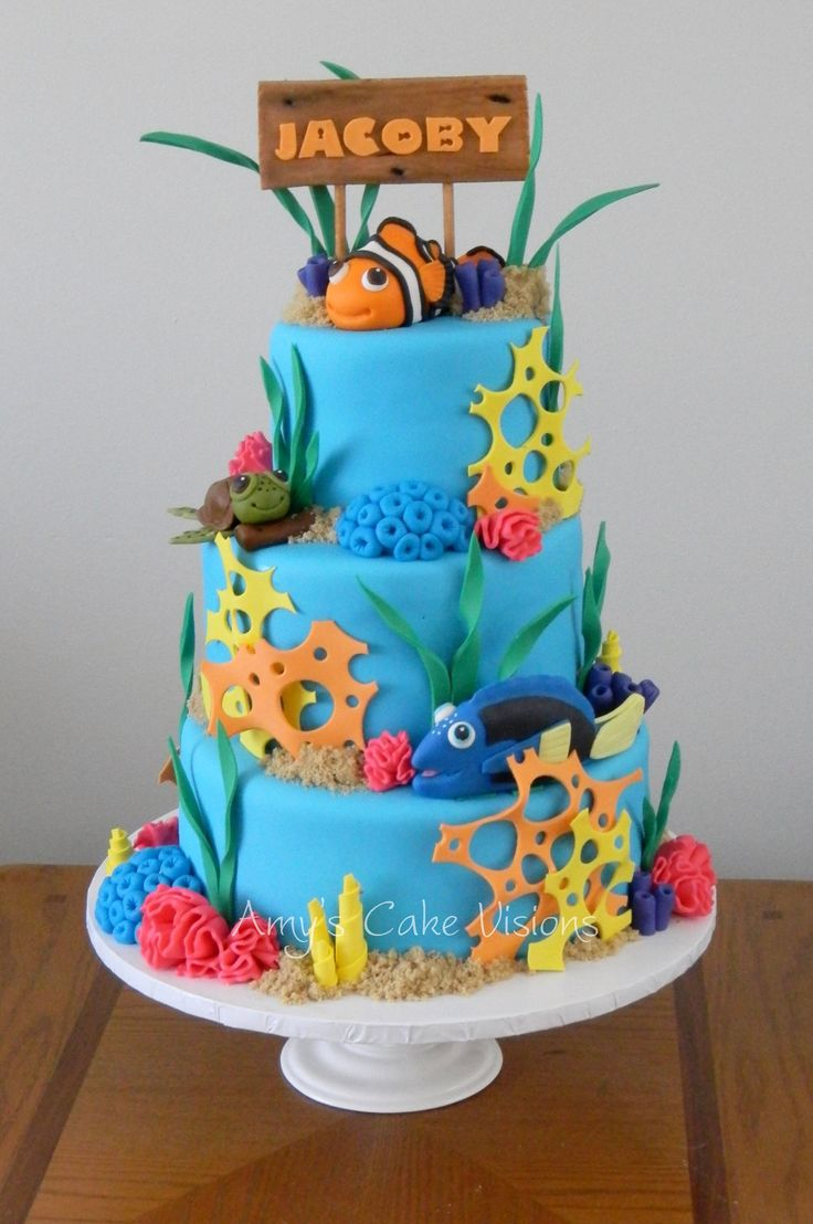 Jacoby's Under the Sea Cake - Created for a little boy named Jacoby for his 1st birthday. All pieces are made of gumpaste or fondant.