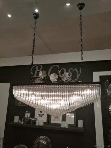 J-Line Luster 14 lichten rechthoekig metaal-glas zwart 122