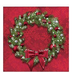 Welcoming WreathBeverage Napkins. One case of  192 Welcoming Wreath 2-Ply Paper Beverage Napkins. Each napkin measures 5  inches square folded, 10 inches square unfolded. 12 packages of 16 napkins for a total of 192 Welcoming Wreath Beverage Napkins.