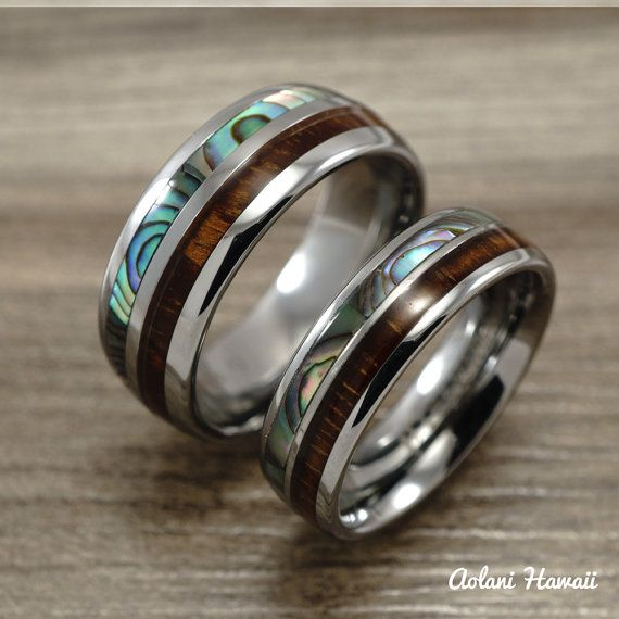 wedding rings made of wood shell and titanium created to order in hawaii found on etzy - Hawaiian Wedding Rings