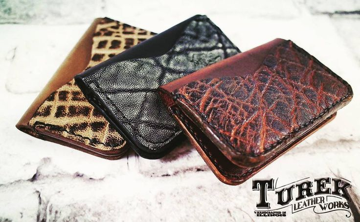 Handcrafted Genuine Elephant Leather Wallets. What's Your Favorite Color?  #horween #chromexcel #handmade #leatherwork #brown #wallet #mensstyle #mangear #gear #edc #edcwallet #everydaycarry #bestleather #mens #daily #pocket #cash #elephant #exoticleather #exquisite #tobacco #brown #wallet #mahogony #tobacco #black and #gray #guaranteed