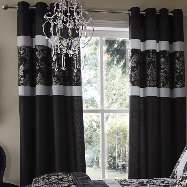 Catherine Lansfield Glamour Jacquard Black Curtain and optional Accessories