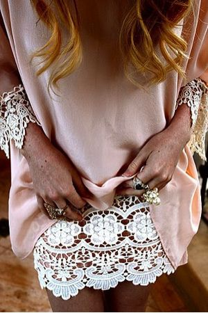 Sew lace under too short dresses.