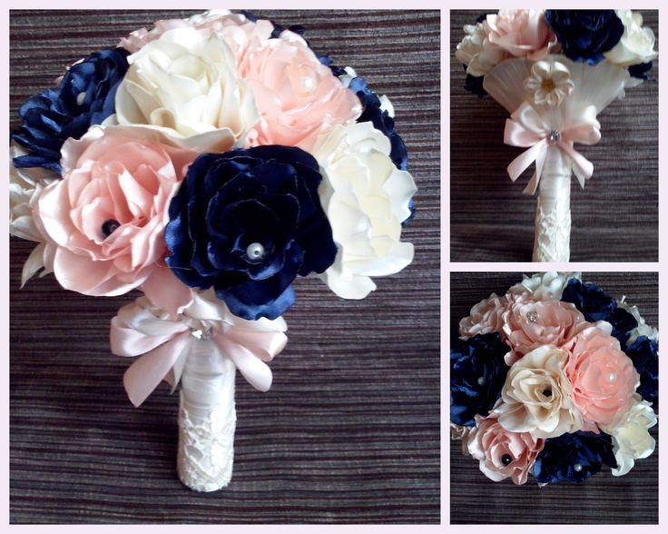 bukiet z wstążkowych kwiatów