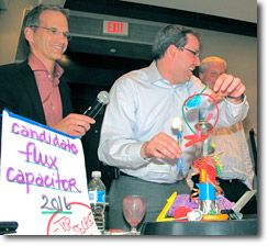 Beyond the Box group with flux capacitor.  This is an example of a creativity program directed towards a corporate setting. It encourages employees to view things in different ways, work together to solve problems, and have fun.